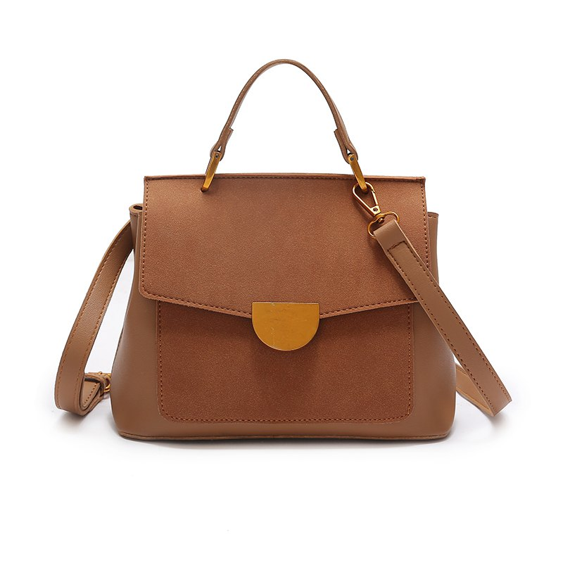 Atmospheric Wild Bag Female 2018 New Fashion Matte Leather Shoulder Messenger Bag Simple Commuter Handbag - YELLOW BROWN