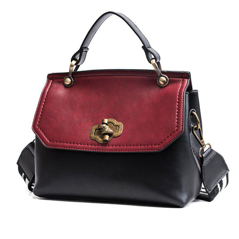 Fashion Trendy Handbag Female Trendy Wild Messenger Bag Spell Color Package 2018 New Female Bag - BLACK