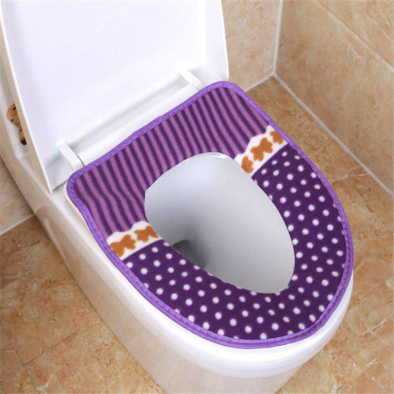 Corduroy toilet cushion in winter - PURPLE OUTER DIAMETER: 37 X 43 INNER DIAMETER: 26 X 19
