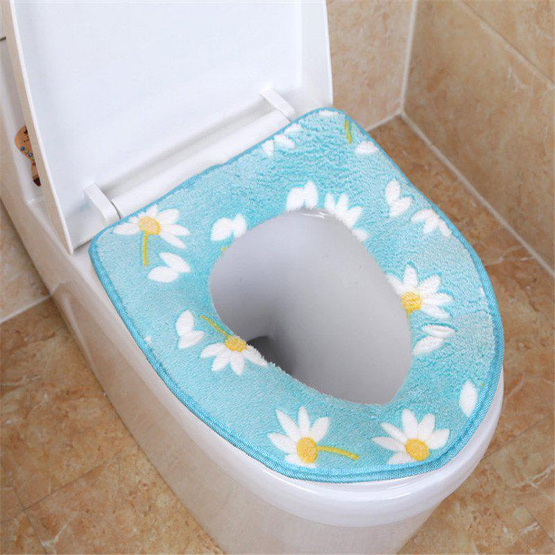 A toilet seat cushion and a toilet cushion in winter - BLUE OUTER DIAMETER 37 X 43CM INNER DIAMETER 18 X 26CM