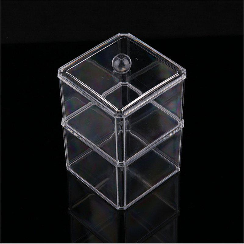 Double stacked cotton swab transparent make-up box - TRANSPARENT 15.3CM X 8.6CM X 12.9CM
