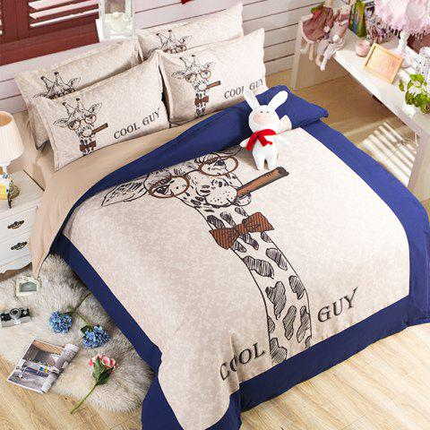 New Arrivals Cartoon Bedding Set for Kids 3D Animal Bed Sheet Queen Size Cute Bulldog Print Duvet Cover Home Bedclothes - BLUE/WHITE SINGLE