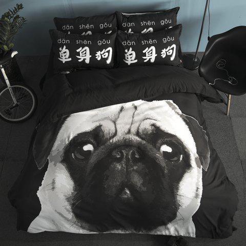 New Arrivals Cartoon Bedding Set for Kids 3D Animal Bed Sheet Queen Size Cute Bulldog Print Duvet Cover Home Bedclothes - BLACK/WHITE/PURPLE FULL