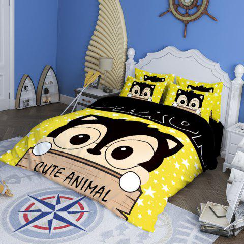 New Arrivals Cartoon Bedding Set for Kids 3D Animal Bed Sheet Queen Size Cute Bulldog Print Duvet Cover Home Bedclothes - YELLOW / GRAY KING