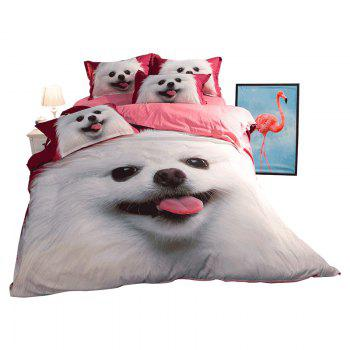New Arrivals Cartoon Bedding Set for Kids 3D Animal Bed Sheet Queen Size Cute Bulldog Print Duvet Cover Home Bedclothes - WHITE/PINK/BLUE WHITE/PINK/BLUE