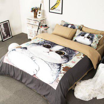 New Arrivals Cartoon Bedding Set for Kids 3D Animal Bed Sheet Queen Size Cute Bulldog Print Duvet Cover Home Bedclothes - WHITE + GREY WHITE / GREY