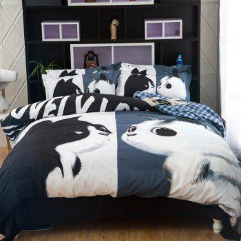 New Arrivals Cartoon Bedding Set for Kids 3D Animal Bed Sheet Queen Size Cute Bulldog Print Duvet Cover Home Bedclothes - WHITE+BLACK+GOLD WHITE/BLACK/GOLD