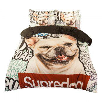 New Arrivals Cartoon Bedding Set for Kids 3D Animal Bed Sheet Queen Size Cute Bulldog Print Duvet Cover Home Bedclothes - BLUE/WHITE/ORANGE SINGLE