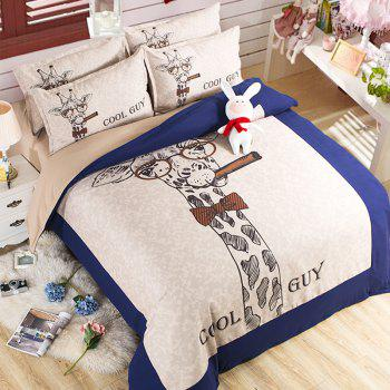 New Arrivals Cartoon Bedding Set for Kids 3D Animal Bed Sheet Queen Size Cute Bulldog Print Duvet Cover Home Bedclothes - BLUE+WHITE BLUE/WHITE