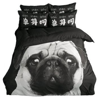New Arrivals Cartoon Bedding Set for Kids 3D Animal Bed Sheet Queen Size Cute Bulldog Print Duvet Cover Home Bedclothes - BLACK/WHITE/PURPLE SINGLE