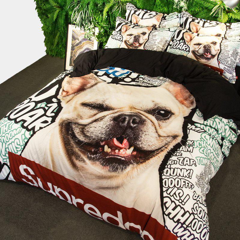 New Arrivals Cartoon Bedding Set for Kids 3D Animal Bed Sheet Queen Size Cute Bulldog Print Duvet Cover Home Bedclothes - BLUE/WHITE/ORANGE QUEEN