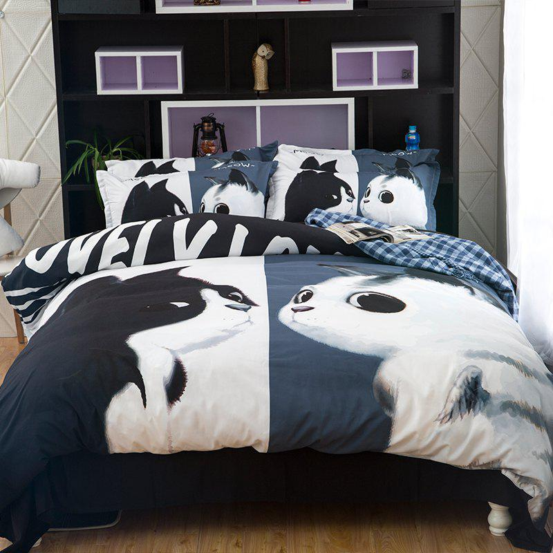 New Arrivals Cartoon Bedding Set for Kids 3D Animal Bed Sheet Queen Size Cute Bulldog Print Duvet Cover Home Bedclothes - WHITE/BLACK/GOLD QUEEN
