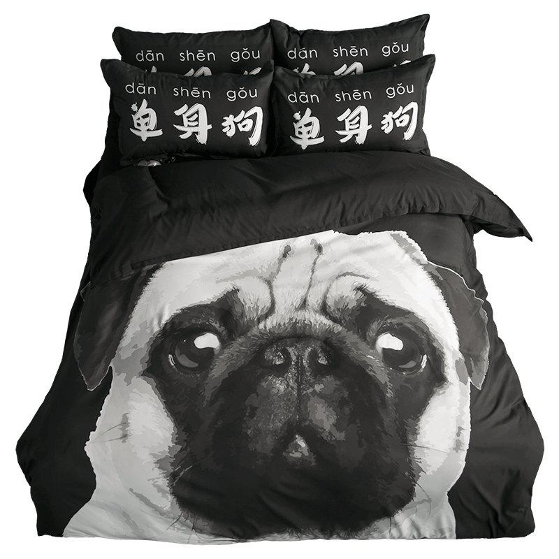New Arrivals Cartoon Bedding Set for Kids 3D Animal Bed Sheet Queen Size Cute Bulldog Print Duvet Cover Home Bedclothes - BLACK/WHITE/PURPLE DOUBLE