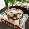 New Arrivals Cartoon Bedding Set for Kids 3D Animal Bed Sheet Queen Size Cute Bulldog Print Duvet Cover Home Bedclothes - BLACK/WHITE QUEEN