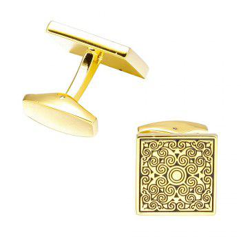 Fashion Golden Square Pattern CufflinksShirt Sleeve Nails - GOLD