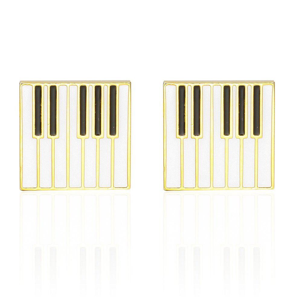 French Fashion Gold Piano Cufflinks Long Sleeved Shirt Nails - GOLD