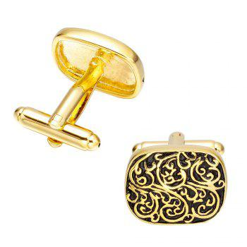 Fashion Retro Tree Pattern Gold Cufflinks French Shirt Sleeve Nails -  GOLD
