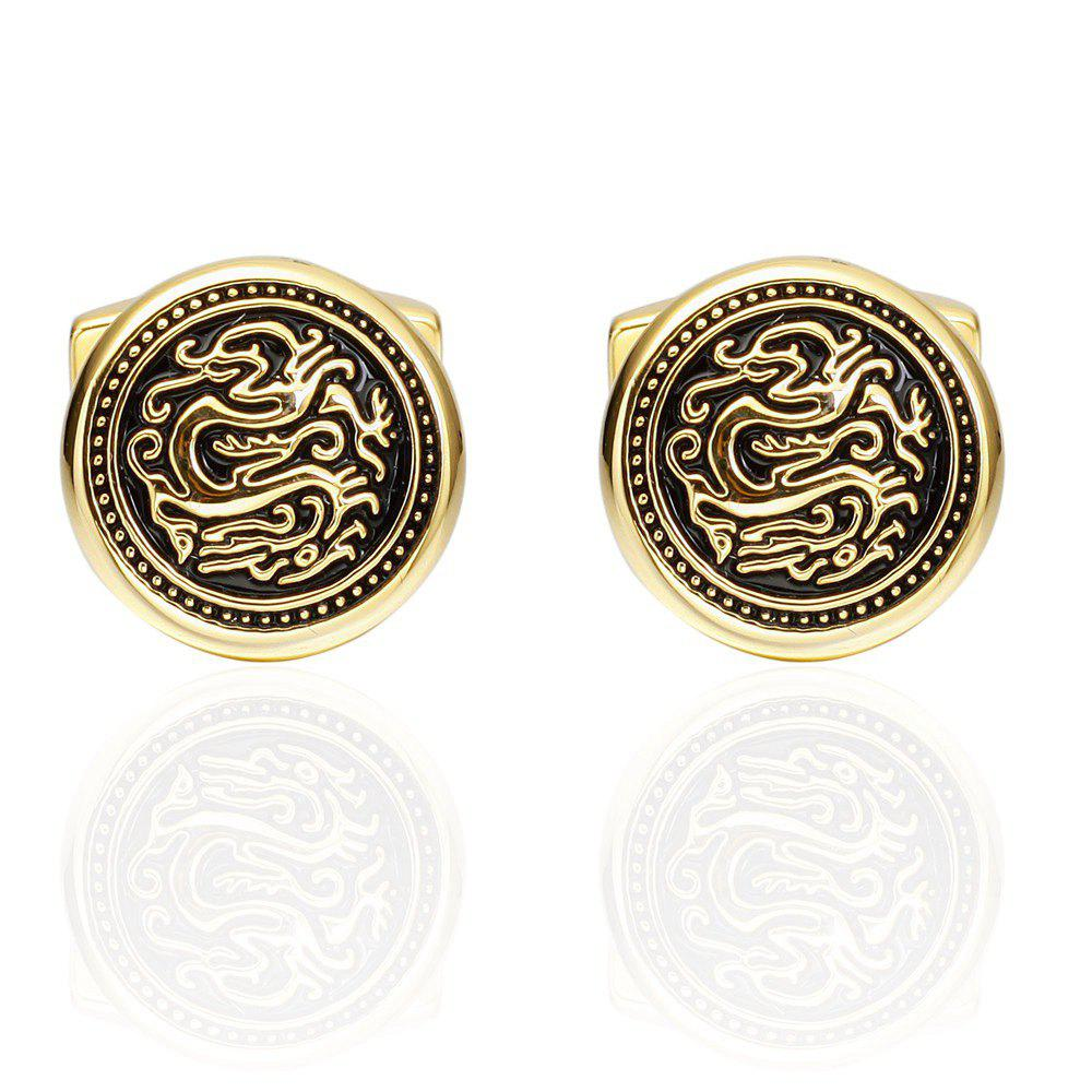 Fashion Gold Dragon Round Cufflinks French Long Sleeved Shirt Cuff Nails - GOLD