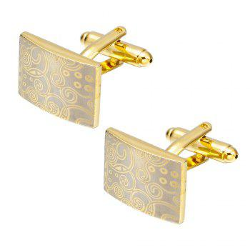 Fashion Gold Square Cufflinks French Shirt Sleeve Nail Auspicious Clouds Cuff Links - GOLD GOLD