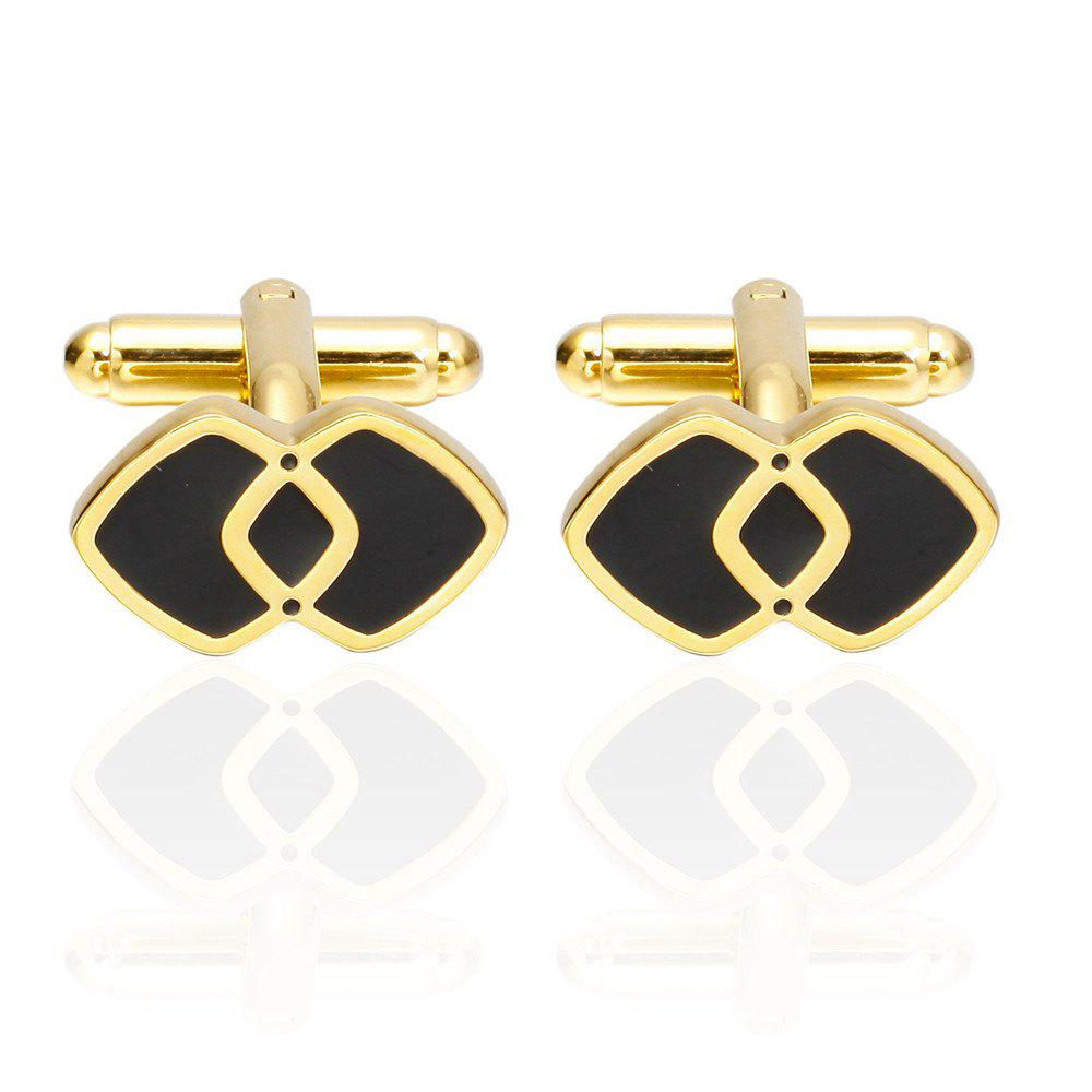 Fashion Gold Double Square Cufflinks French Shirt Sleeve Nails - GOLD