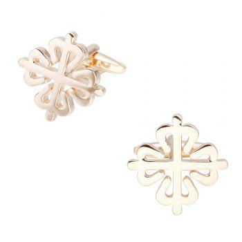Dual Color Flower Cufflinks French Long Sleeved Shirt Nails - GOLD