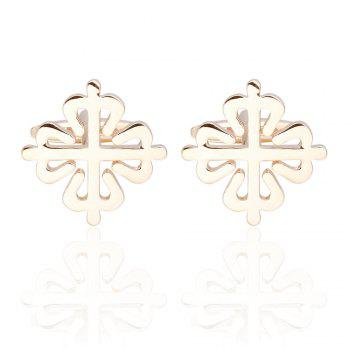 Dual Color Flower Cufflinks French Long Sleeved Shirt Nails - GOLD GOLD