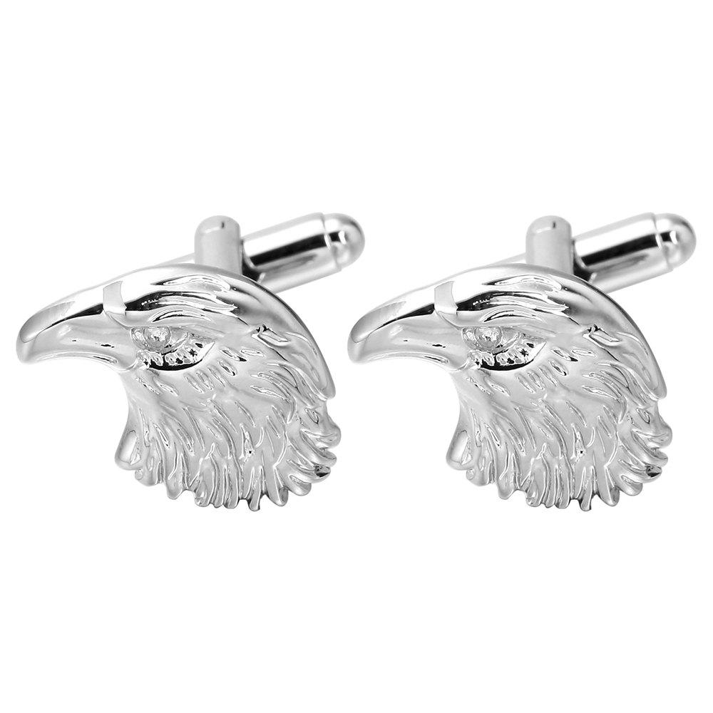 Silver Eagle Cufflinks High-Quality French Cuff Links - SILVER