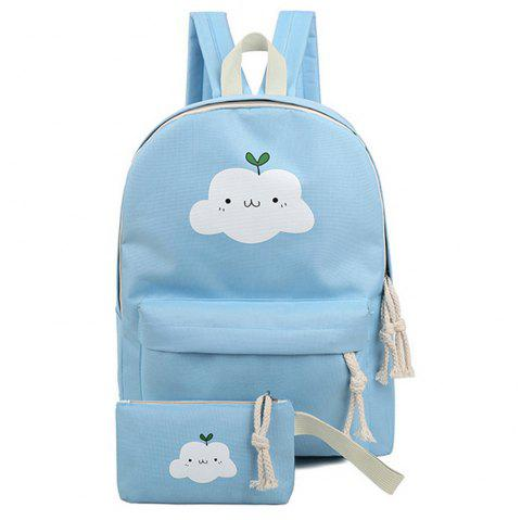Women's Backpack Set Lovely Cartoon Trendy All Matched Simple Style Bags Set - BLUE