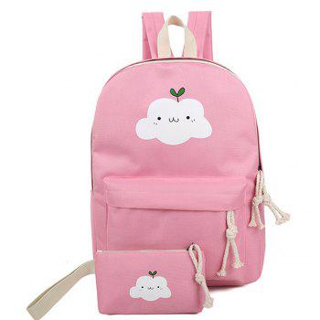 Women's Backpack Set Lovely Cartoon Trendy All Matched Simple Style Bags Set - PINK PINK