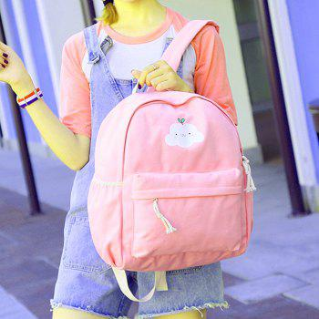 Women's Backpack Set Lovely Cartoon Trendy All Matched Simple Style Bags Set - PINK