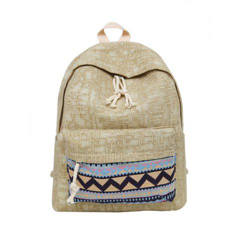 Women's Backpack Ethnic Style Patchwork Faddish All Match Bag - KHAKI