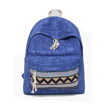 Women's Backpack Ethnic Style Patchwork Faddish All Match Bag - BLUE BLUE
