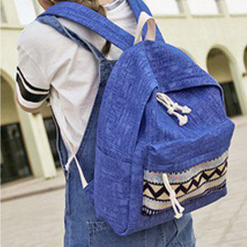 Women's Backpack Ethnic Style Patchwork Faddish All Match Bag -  BLUE