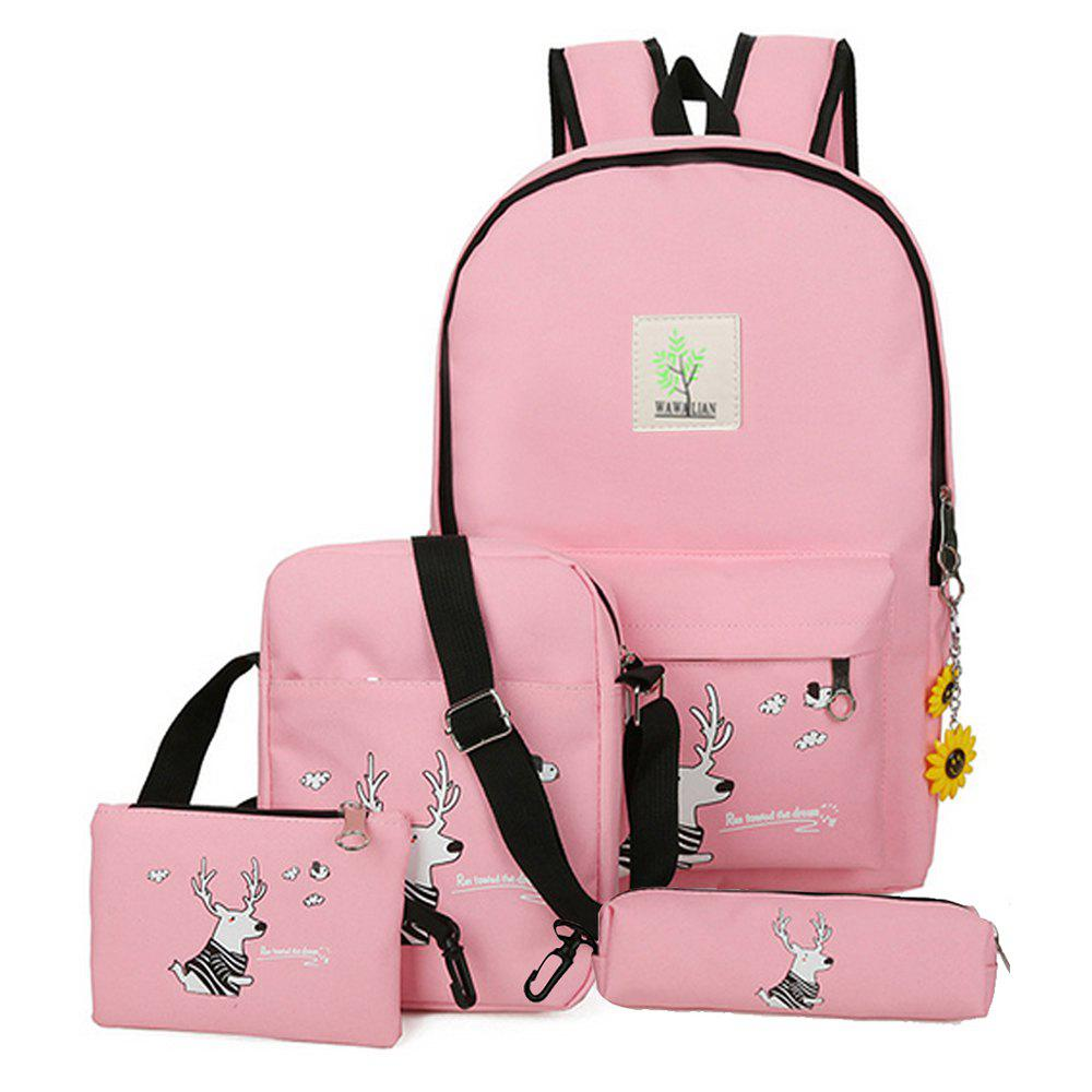 Les sacs de la fille Set Cartoon Pattern sac à dos Sac à bandoulière sac à main sac à main - ROSE PÂLE