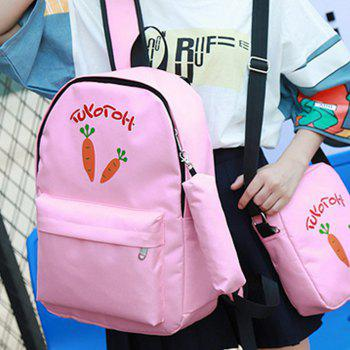 Girl's Backpack Set Cartoon Pattern School Bags Set -  PINK