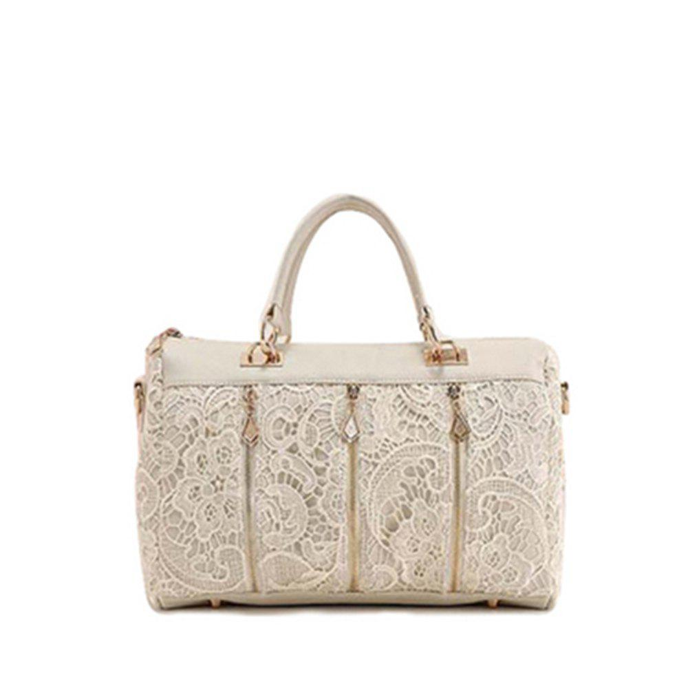 Sac à main Chic Zipper Design Dentelle Ladylike Sac souple - Blanc