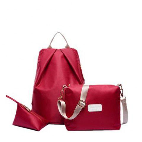 Women's Backpack Set Nylon Solid Color Sterling School Bags Set - RED