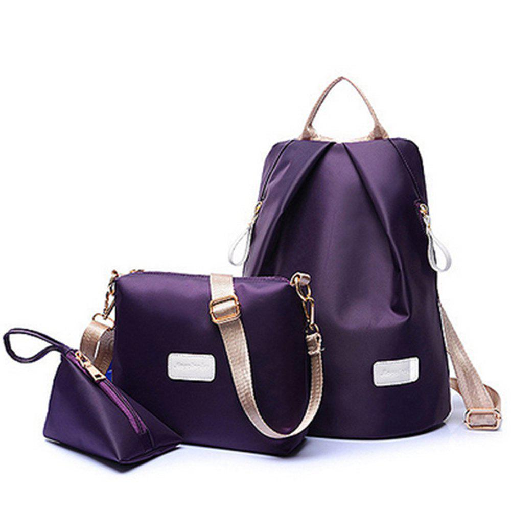 Women's Backpack Set Nylon Solid Color Sterling School Bags Set - PURPLE