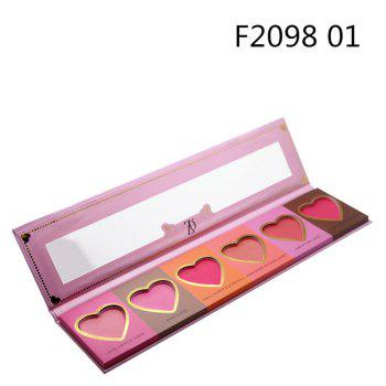 ZD F2098  6 Colors Blusher Palette Heart Shaped Cheek Makeup Blush Powder 1PC - PINK