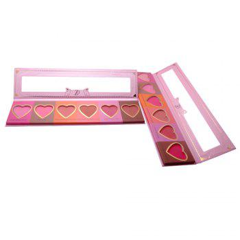 ZD F2098  6 Colors Blusher Palette Heart Shaped Cheek Makeup Blush Powder 1PC -  ROSE RED