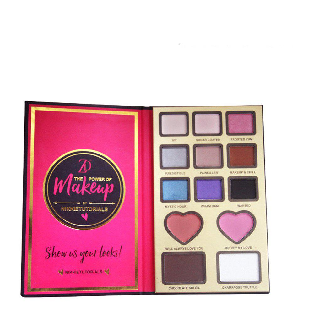 ZD F2099 9 Colors Eyeshadow 2 Colors Blusher 2 Colors Bronzer Powder 1PC -