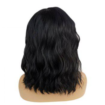 Middle Part Short Hair Body Wave Bob Synthetic Lace Front Wig - BLACK 12INCH