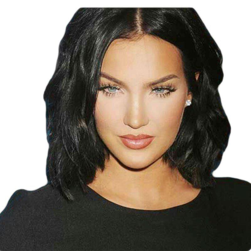 Middle Part Short Hair Body Wave Bob Synthetic Lace Front Wig - BLACK 14INCH