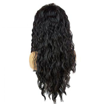 Fashion Fluffy Long Water Wavy Free Part Synthetic Lace Front Wig - BLACK BLACK