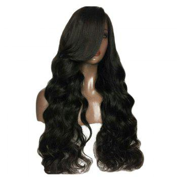 Fluffy Long Body Wave 180 Percent Heavy Hair Density Synthetic Lace Front Wigs - BLACK 26INCH