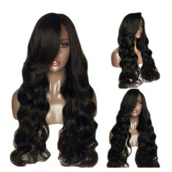 Fluffy Long Body Wave 180 Percent Heavy Hair Density Synthetic Lace Front Wigs - BLACK 24INCH