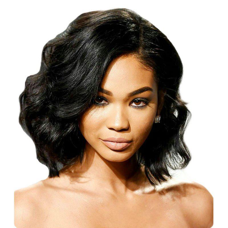 Deep Side Part Fashion Short Body Wavy Bob Lace Front Wig Synthetic Hair Heat Restaurant - BLACK 14INCH