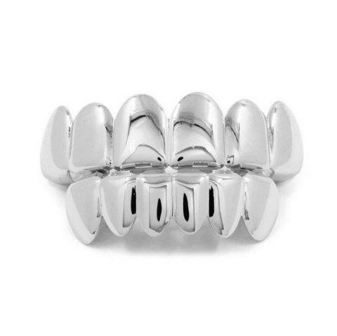 Hip Hop 18k Gold Plated Gold  Classic Grillz - SILVER