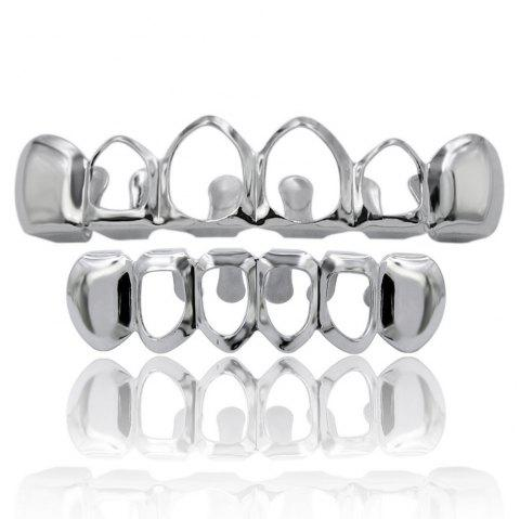 Hip Hop 18K Gold Plated Hollow Teeth Grillz - SILVER