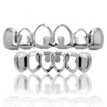Hip Hop 18K Gold Plated Hollow Teeth Grillz - SILVER SILVER